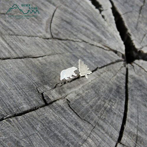 Sterling Silver Mismatched California Forest Stud Earrings - Bear & Pine Tree