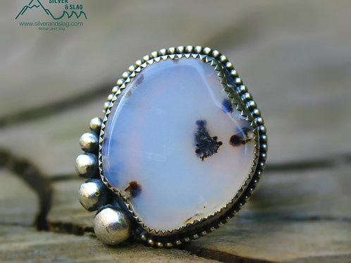 Malibu Dendritic Agate set in Sterling Silver Ring - Size 9 | Silver & Slag |