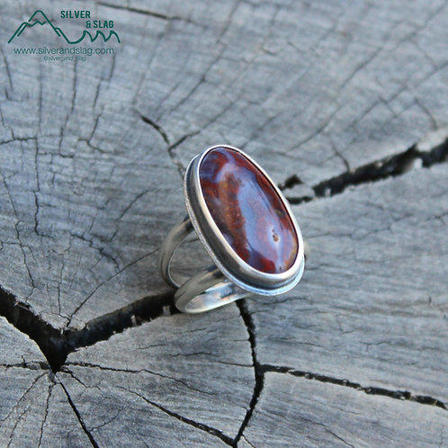 Mojave Desert Red Moss Agate set in Sterling Silver Statement Ring - Size 7.5