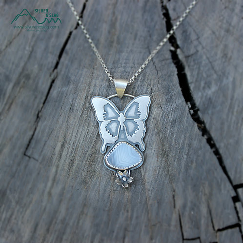 Butterfly with Malibu Banded Agate Sterling Silver Necklace    | Silver & Slag |