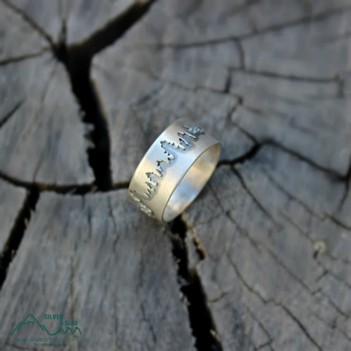 Sterling Silver Tree Line Ring - Unisex            | Silver & Slag |