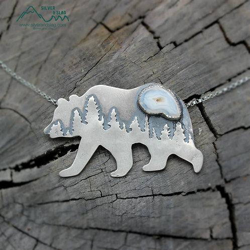Mammoth Black Bear Malibu Agate with Druzy Sterling Silver Necklace