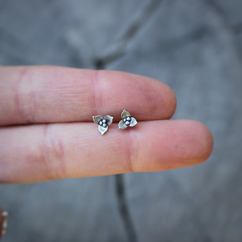 Trillium Wildflower Sterling Silver Small Stud Earrings