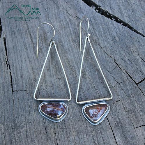 Mojave Desert Agates set in Sterling Silver Dangling Earrings