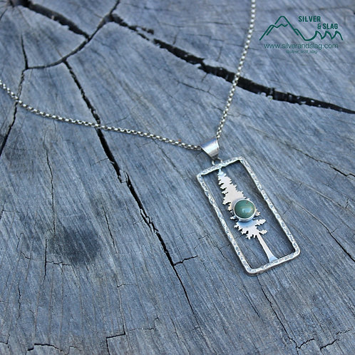 California Redwood w CA Nephrite Blue Jade Sterling Silver Necklace