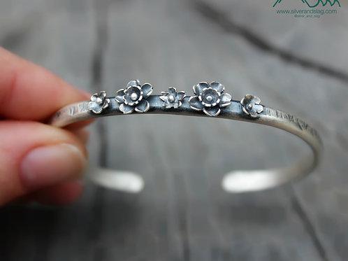 California Superbloom Sterling Silver Cuff Bracelet - 5 Flowers
