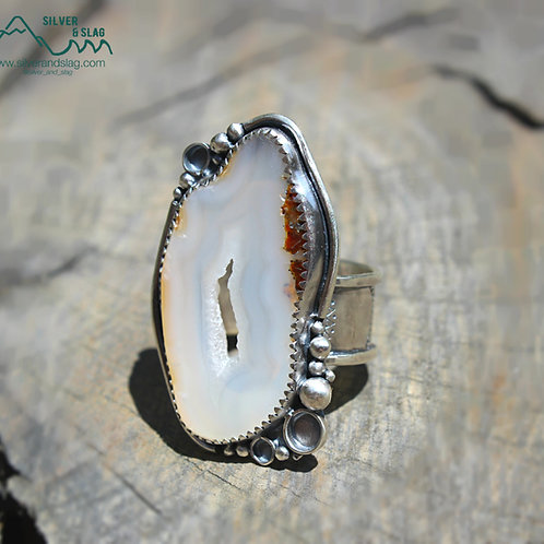 Malibu Agate with Druzy Center set in Sterling Silver Statement Ring - Size 7.75