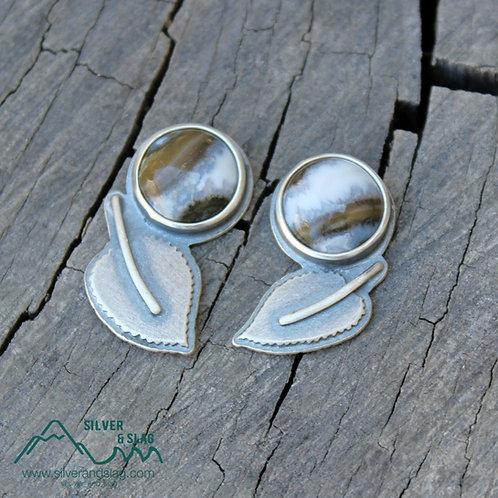 Mojave Desert Agates set in Sterling Silver Aspen Leaf Earrings