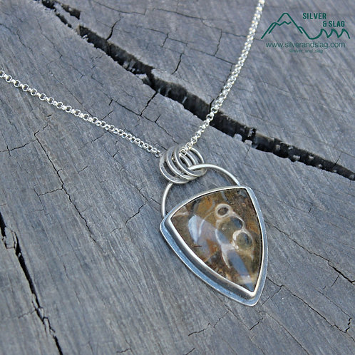 California Marine Fossils in Sterling Silver Statement Necklace