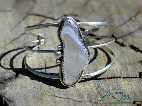 Malibu Agate set in Sterling Silver Large Statement Cuff        Silver & Slag  