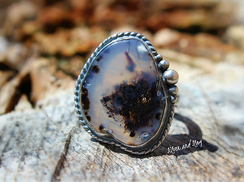 Malibu Beach Dendritic Agate Slice set in Sterling Silver Ring - Size 8