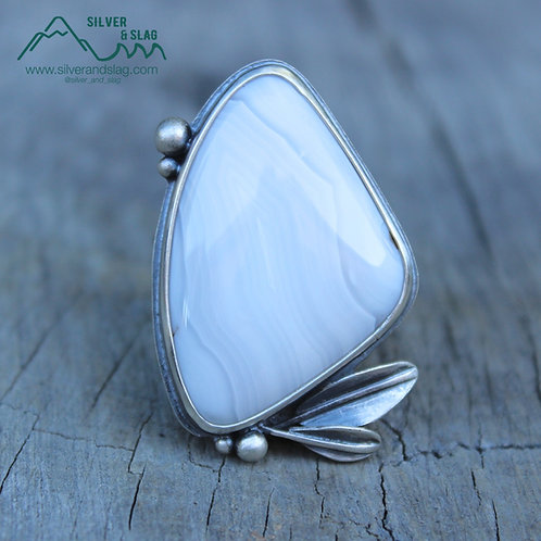 Mojave Desert Agate set in Sterling Silver Leaf Accent Statement Ring- Size 7.25