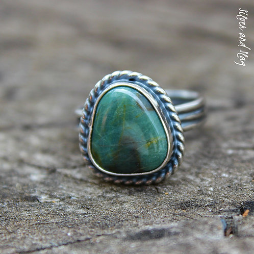 Ocean Inspired Cambria Teal Jasper set in Sterling Silver Ring - Size 6