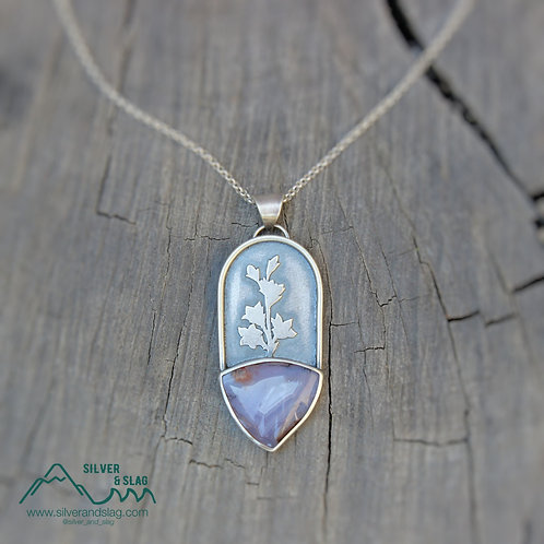 Purple Mojave Desert Agate in Sterling Silver Wildflower Statement Necklace