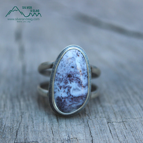 Mojave Desert Purple Moss Agate set in Sterling Silver Statement Ring - Size 10
