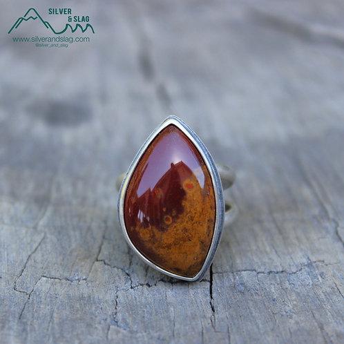 Mojave Desert Poppy Jasper set in Sterling Silver Statement Ring - Size 7.5