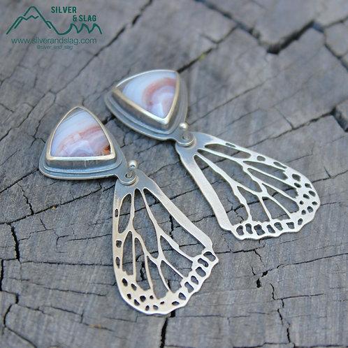 Pink Mojave Desert Agates set in Sterling Silver Monarch Butterfly Wing Earrings