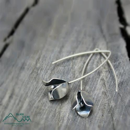 Sterling Silver California Wildflower Blossom Dangle Earrings