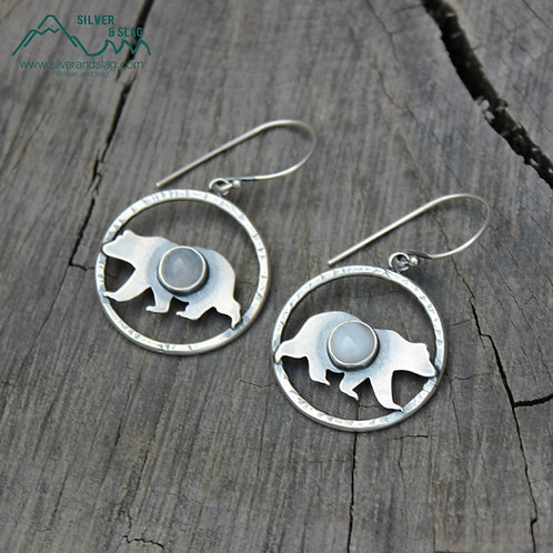 Sterling Silver California Black Bear Dangle Hoop Earrings w Malibu Agates