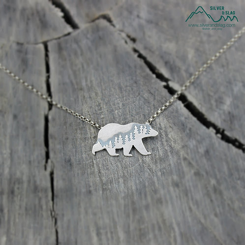 Small Mammoth Black Bear Sterling Silver Necklace