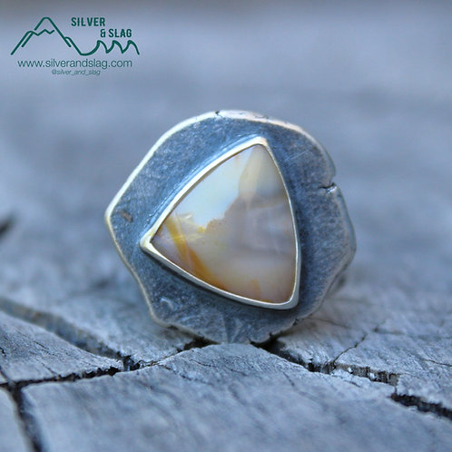 Mojave Desert Agate set in Sterling Silver Rough Around the Edges Ring - Size 6