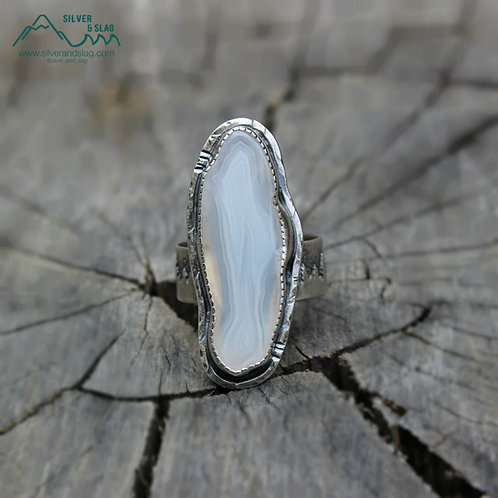 California Forest Tree Line with Malibu Agate in Sterling Silver Ring - Size 9.5