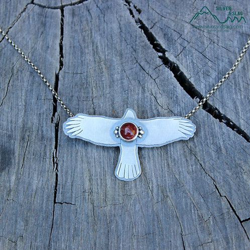 Soaring Cooper's Hawk with Mojave Desert Agate Sterling Silver Necklace - Large