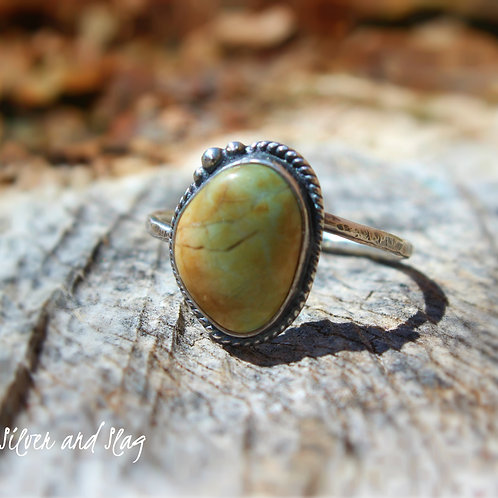 Tiny California Blue-Green Jasper set in Sterling Silver Ring - Size 6.75