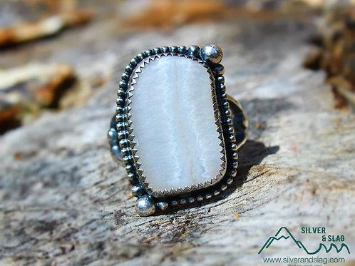 Malibu Seam Agate set in Sterling Silver Ring - Size 6         | Silver & Slag |