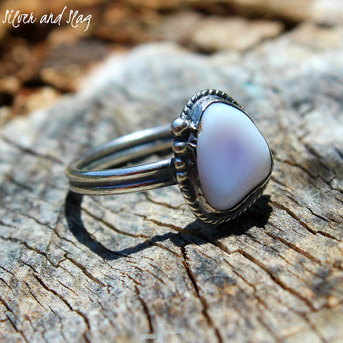 Malibu Beach Purple Agate Slice Ring - Size 6