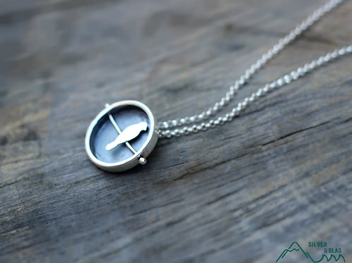 Sterling Silver Bird on a Wire Fidget Necklace - Circle        | Silver & Slag |