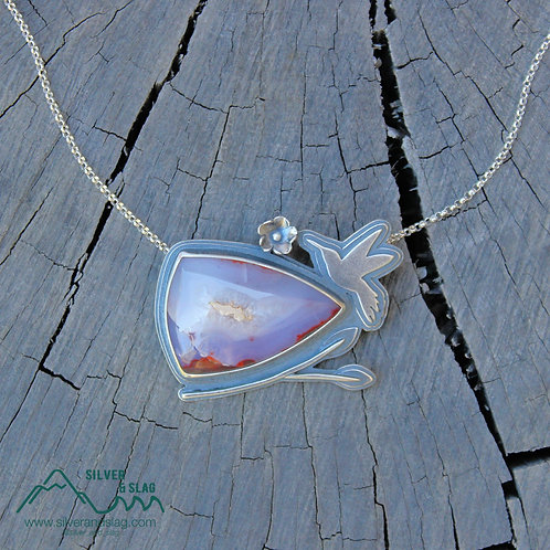 Hummingbird Feeding w Purple & Red Mojave Desert Agate Sterling Silver Necklace