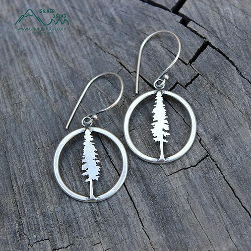 Small Sterling Silver California Redwood Dangle Hoop Earrings