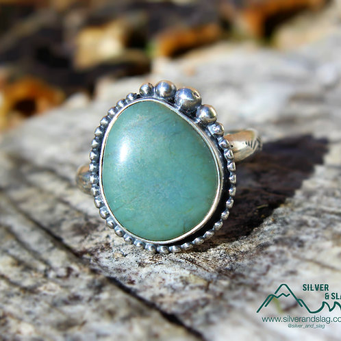 California Blue Jade set in Sterling Silver Ring - Size 7      | Silver & Slag |