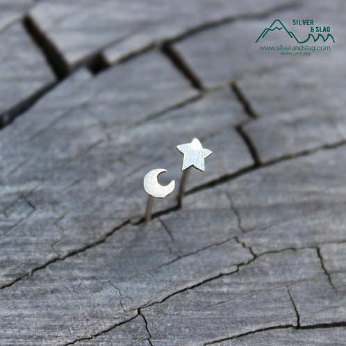 Sterling Silver Mismatched California Forest Stud Earrings -Star & Crescent Moon