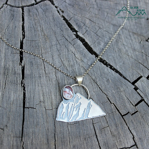 Eastern Sierra Mountain Scene w Mojave Desert Agate Sterling Silver Necklace
