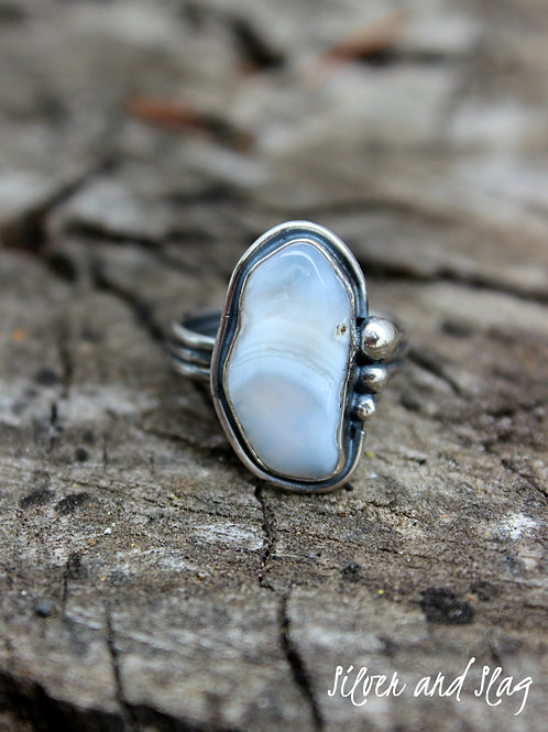 Ocean Inspired Malibu Banded Agate set in Sterling Silver Ring - Size 8