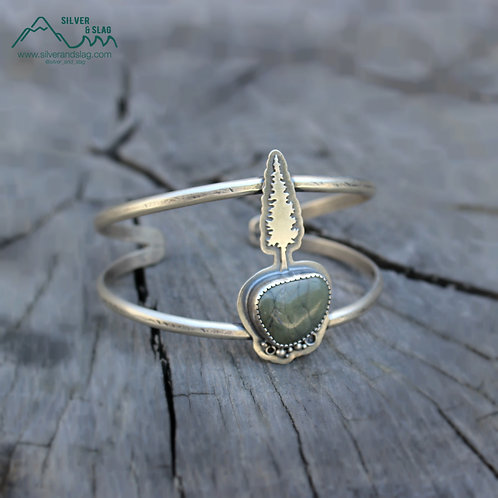 Stay Rooted & Grow Towards the Sun, CA Jasper Sterling Silver Cuff Bracelet