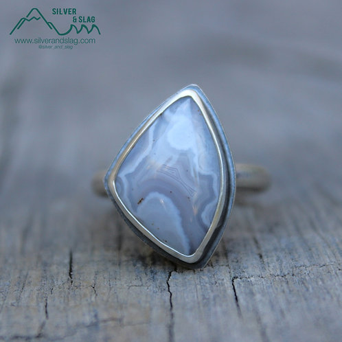 Mojave Desert Agate w Parallax set in Sterling Silver Statement Ring - Size 7.5