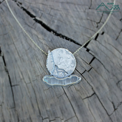 Coyote in the Moonlight with Malibu Agate Sterling Silver Necklace