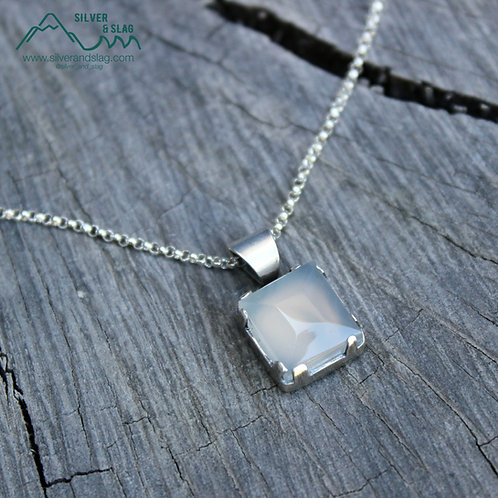 Faceted Malibu Chalcedony set in Sterling Silver Small Statement Necklace