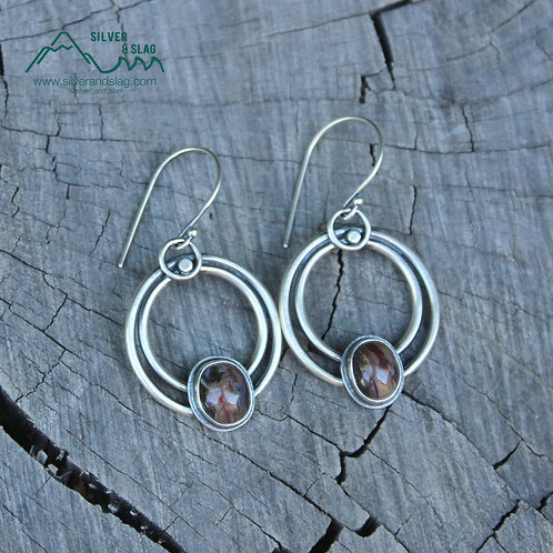 Mojave Desert Agate Sterling Silver Dangle Hoop Earrings
