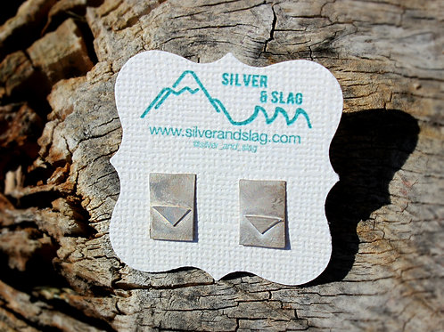 Sterling Silver Rectangle & Triangle Earrings     | Silver & Slag |