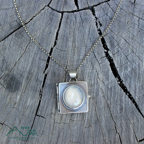 Choose Adventure Locket with Malibu Chalcedony Sterling Silver Necklace