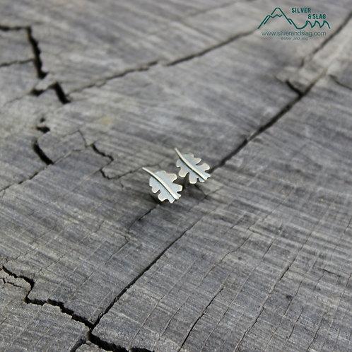 Sterling Silver California Oak Leaf Stud Earrings