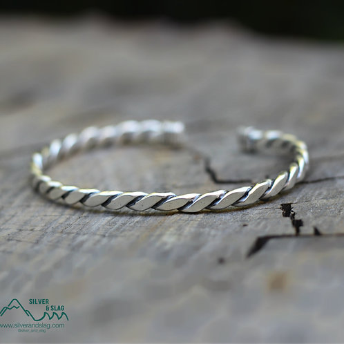 Sterling Silver Nautical Rope Cuff - Unisex          | Silver & Slag |
