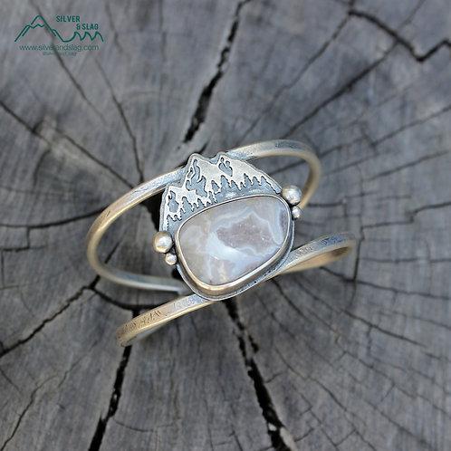 Eastern Sierra Mountains w Mojave Desert Agate Sterling Silver Cuff Bracelet