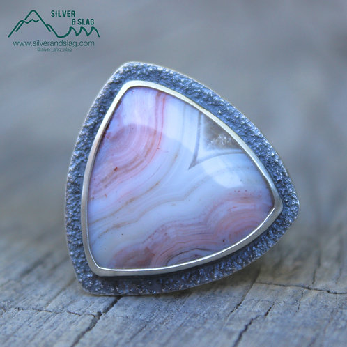 Gorgeous Pink Mojave Desert Agate set in Sterling Silver Statement Ring - Size 7