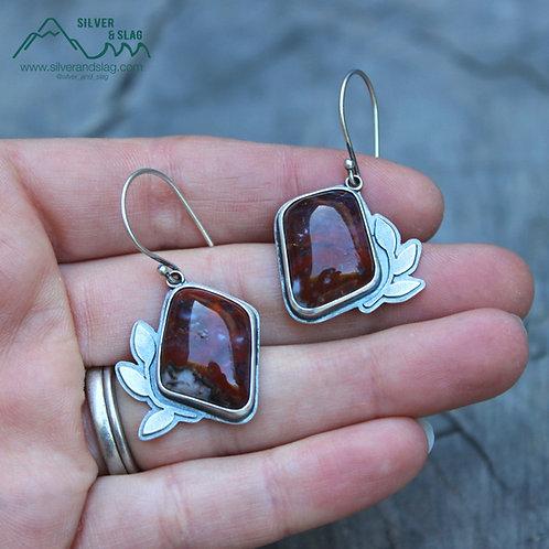 Mojave Desert Agates set in Sterling Silver California Forest Inspired Earrings