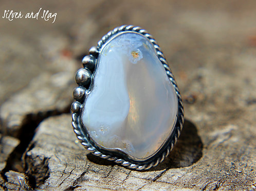 Malibu Beach Parallax Agate Slice set in Sterling Silver Ring - Size 6.25